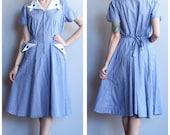 Late 40s Dress // Cardinal Cotton House Dress // vintage 40s/50s dress