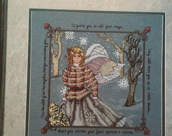Psalm 91 with Angel Cross Stitch pattern book Leisure Arts Leaflet 2090 from 1991