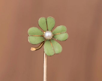 Enamel Clover  Custom Conversion 14k Gold Stick Pin Ring Earring or Necklace