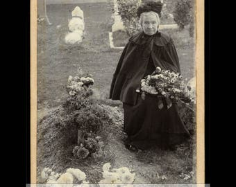 Antique Cabinet Card - Old Widow in Graveyard - Mourning Photo
