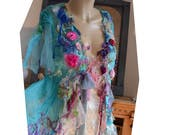RESERVED Beautiful Unique Art To Wear Silk Chiffon Transparent Turquoise Jacket VELVET ROSES Fairy Boho Tattered  Flowers Forest