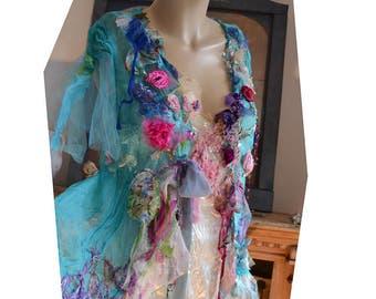 Beautiful Unique Art To Wear Silk Chiffon Transparent Turquoise Jacket VELVET ROSES Fairy Boho Tattered  Flowers Forest