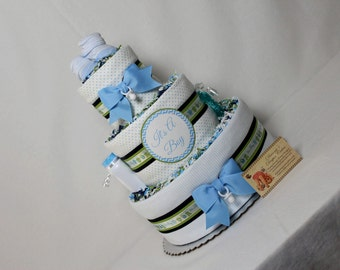 Baby Diaper Cake Boys Shower Gift or Centerpiece