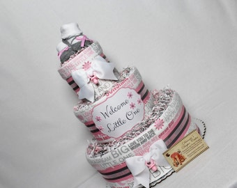 Baby Diaper Cake PINK OR BLUE Shower Gift Centerpiece Love you to the Moon