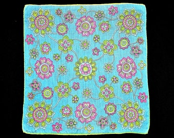 VINTAGE DESIGNER HANKIE Mary Lewis Mod Floral on Bright Aqua Lime Green and Pink Daisies Hand Rolled Hem Linen Signed 1960s, Mid-Century