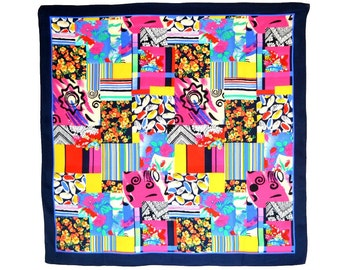 Vintage Silk Scarf Near Mint Condition 34 in. sq. Patchwork Design Every Color Flowers Modern Abstract Stripes Pink Red Bright Navy Border