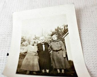 vintage photo 3 women sisters black and white ephemera collectible scrapbook