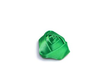"1 1/2"" Emerald Green Satin Rosette -  Satin Roses -  Satin Rolled Rose - Satin Flowers - Headband Flowers - Christmas Satin Flowers"