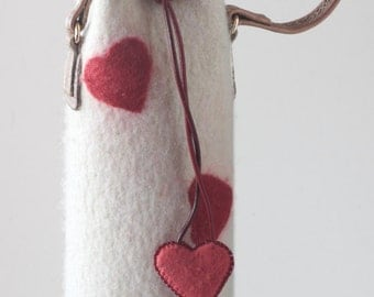 Wine Tote for Happy Valentines Day or Special Anniversary Handmade Felted Wool Champagne Bag (Bottle not Included)