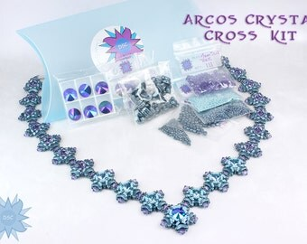 Arcos Crystal Cross Necklace Bead Kit in Teal Blue Purple, Arcos, Minos Par Puca, Swarovski Crystal, Beadweaving Necklace Beading Kit