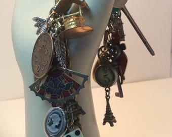 Vintage Charm Bracelet. Eiffel Tower.