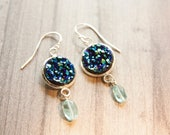 Druzy Stone Earrings, Druzy and Apatite Blue Stones, Nautical Earrings, Ready to Ship