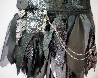 Black Tattered Skirt, Pixie Skirt, Fairy Skirt, Goth Skirt, Festival Skirt, Gypsy Skirt, Costume Skirt, Festival Skirt, Burning Man Clothing