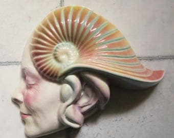 Will Herrera Ceramic Wall Art Sculpture, Mask, Hand Painted, Collectible, Nautilus Shell