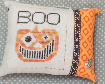 Completed Cross Stitch Halloween Ornament - BOO! Decor