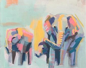 African Elephant Wall Art, Original Elephant Painting, Elephant Room Decor, Safari Wall Painting, Wildlife House Decor