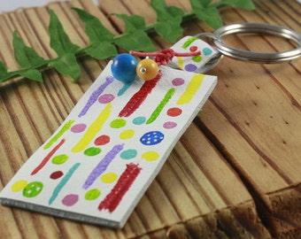 Leather Key Chain, Key Fob, Key Holder/Multi-Colored