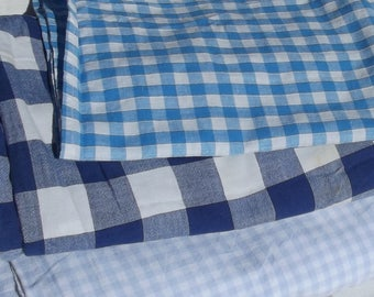 Lot of Vintage French Bistro material 1950s Gingham Cotton checked fabric Blue white Vichy squares