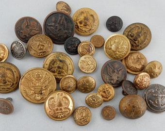 30 Antique Mostly Waterbury Military Gold Metal Buttons Army Navy