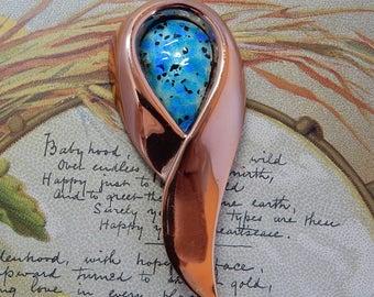 MATISSE RENOIR Copper & Marbled Blue Enamel Mid Century Brooch    OY14