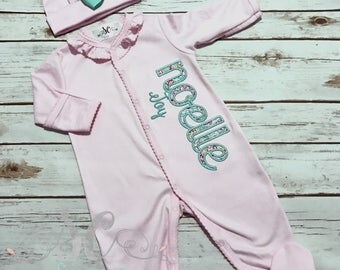 Newborn Footed Sleeper - Baby Girl Gown - Newborn Clothes - Baby Girl Bring Home Outfit - Baby Pink Sleeper With Bow - Baby Name Gown