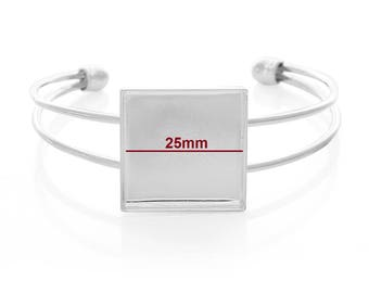 """1 or 4 pcs. Silver Plated Bangle Bezel Cabochon Open Square Cuff Bracelets - 17.5cm (6 7/8"""") - 25mm Glue Pad (1 inch - 1"""") - Made of Copper!"""