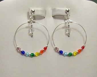 Clip on or Pierced Rainbow Chakra Czech Faceted Glass Silver Hoop Earrings