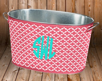 Personalized Drink Tub - Neoprene Cover - Personalized Gift - Wedding Shower Gift -Beverage Party Tub - Drink Cooler - Galvanized Tub