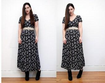Vintage Floral Black Dress Grunge Revival 90's Dress