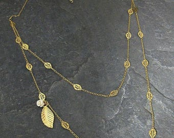 SALE - Gift For Her, Layered Gold Necklace Set ,Gold Leaf Necklace ,Gold Double Layered Necklace,Gold Leaf Necklace with Rose,Bridal Neck...