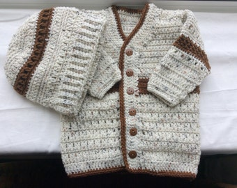 sweater and hat  size 3-6 months color variegated and dark brown