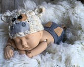 Newborn Baby Boy Outfit Newborn Baby Boy Hat - Moo Cow Hat with Upcycled Gray Pants -  Neutral Colors Gray, Tan and Cream - READY TO SHIP