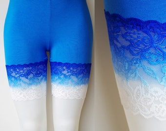 Lace Bike Shorts Blue to White Ombré