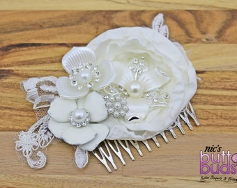 Bridal hairpiece - gorgeous ivory and pearl.