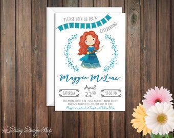 Baby Shower Invitation - Merida and Laurel in Watercolor Style - Brave Scottish Princess