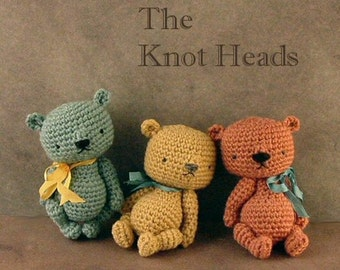 new PDF CROCHET pattern / The Knot Heads / artist miniature bear instructions