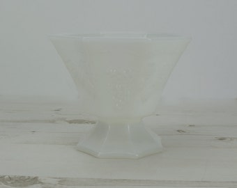 Vintage White Vase - Milk Glass - Planter - Bowl - Plants - Decor - Grapes - Octagonal - Garden - Centrepiece - Glassware