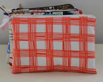 Zipper Pouch in Crosshatch - cosmetic bag travel case diaper bag organizer medium stripes orange ipad mini kindle toiletry gift set