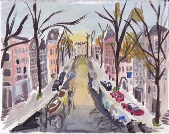 Canal Amsterdam, original gouache painting 8x10