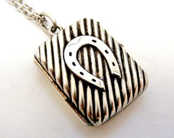 Antique French silver horseshoe locket and chain