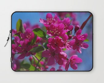 Laptop sleeve | Spring Crabapple flowers, garden photo | 13 inch, 15 inch |  color photograph, gift for gardener, nature lover