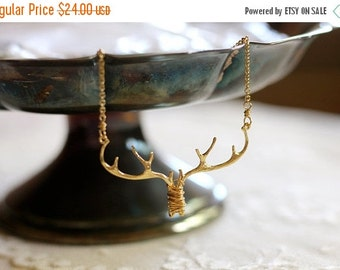 20% OFF CHRISTMAS SALE Pre Order Only: Antler / branch / twig woodland bib necklace, gold tone, twig jewelry, whimsical small statement neck