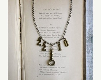 30% OFF CHRISTMAS SALE 221B sherlock inspired necklace with miniature spyglass / magnifying glass, The Game's Afoot