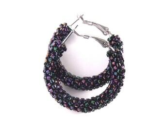 Eggplant purple hoop earrings | woven beaded hoops | beaded purple earrings | glass beaded earrings | aubergine purple jewelry