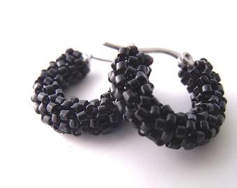 Petite black hoop earrings, beaded black earrings, woven small hoops, glass hoops beaded black jewelry