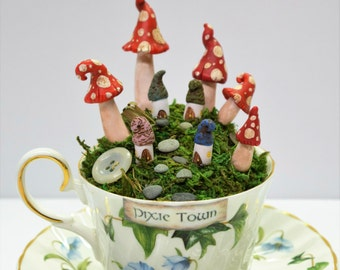 Teacup Pixie Town, Vintage bluebells teacup faerie village with saucer, OOAK 4 Houses