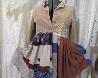 Tan Patchwork Jacket coat, bohemian hippie jacket, upcycled corduroy jacket, womens altered clothing, SMALL