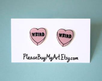Weird Pastel Candy Heart Stud Earrings