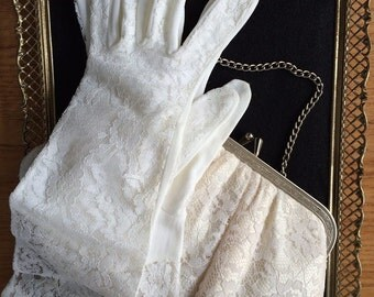 Vintage Lace Bridal Clutch Purse and Gloves