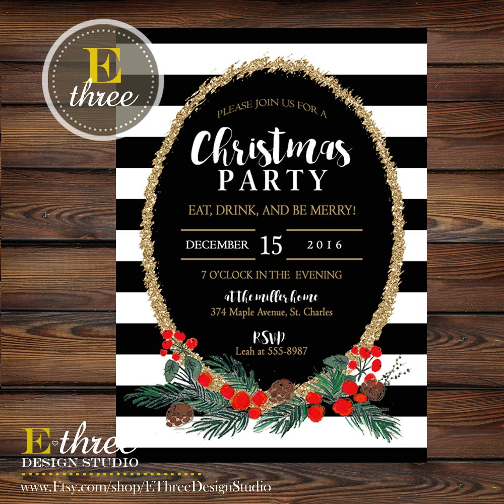 christmas party invitations black stripes by ethreedesignstudio. Black Bedroom Furniture Sets. Home Design Ideas